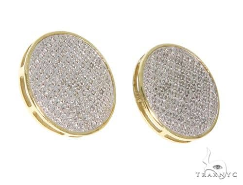 10K YG Micro Pave Diamond Round Flat Earrings Stone