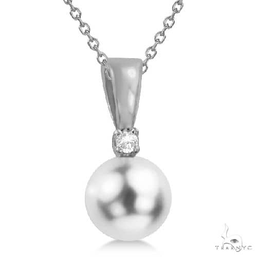 Akoya Pearl Solitaire Pendant Necklace 14k White Gold 6-6.5mm Stone