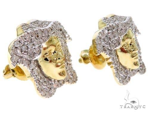 10K Yellow Gold Micro Pave Diamond Medusa Earrings Stone
