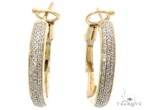 10K YG Micro Pave Diamond Hoop Earrings 58582 10k, 14k, 18k Gold Earrings