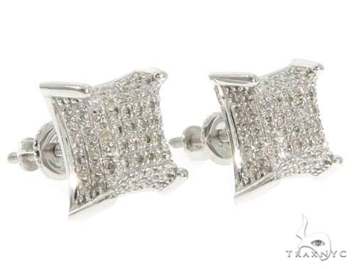 10K White Gold Diamond Earrings 58618 Stone