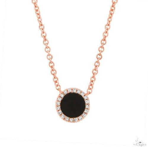 0.04ct Diamond and  0.31ct Onyx 14k Rose Gold Necklace Gemstone