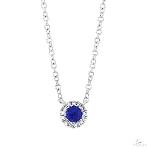0.04ct Diamond and 0.14ct Blue Sapphire 14k White Gold Diamond Necklace Gemstone