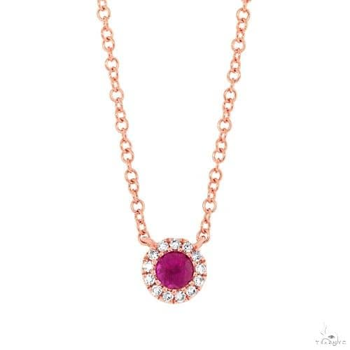0.04ct Diamond and 0.14ct Ruby 14k Rose Gold Diamond Necklace Gemstone