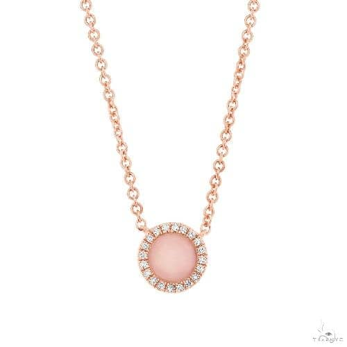 0.04ct Diamond and 0.28ct Pink Opal 14k Rose Gold Necklace Gemstone
