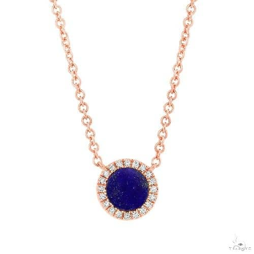 0.04ct Diamond and 0.33ct Lapis 14k Rose Gold Necklace Gemstone