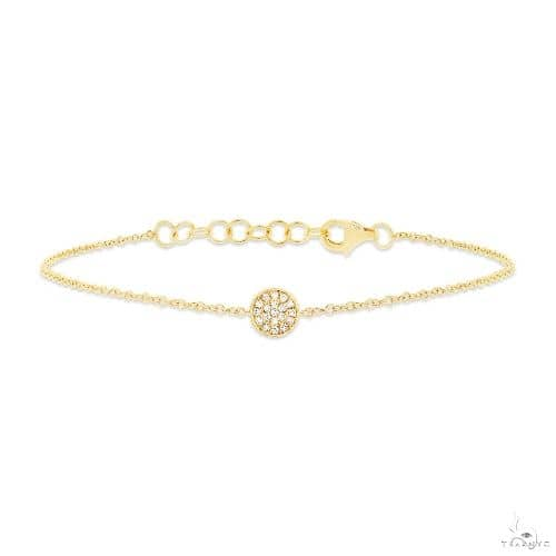 14k Yellow Gold Diamond Pave Circle Bracelet Diamond