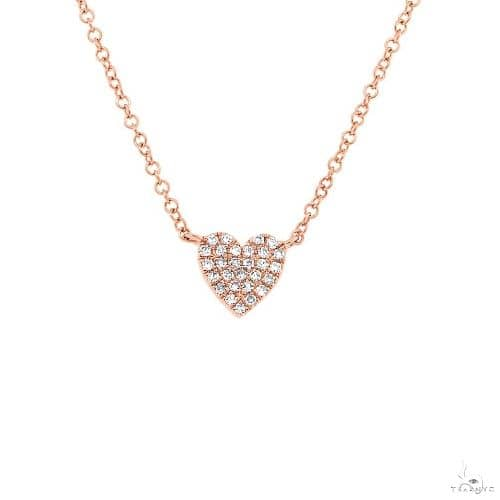 14k Rose Gold Diamond Heart Necklace Diamond