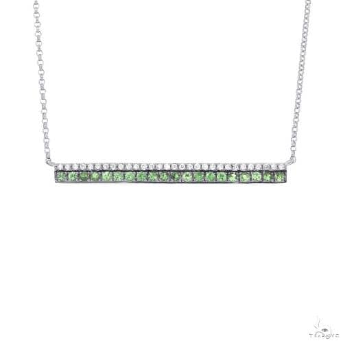 0.09ct Diamond and 0.27ct Green Garnet 14k White Gold Bar Necklace Gemstone
