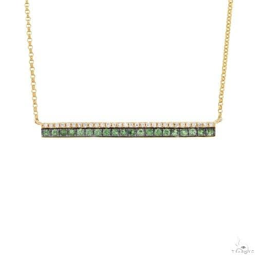 0.09ct Diamond and 0.27ct Green Garnet 14k Yellow Gold Bar Necklace Gemstone