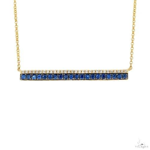 0.09ct Diamond and 0.31ct Blue Sapphire 14k Yellow Gold Bar Necklace Gemstone