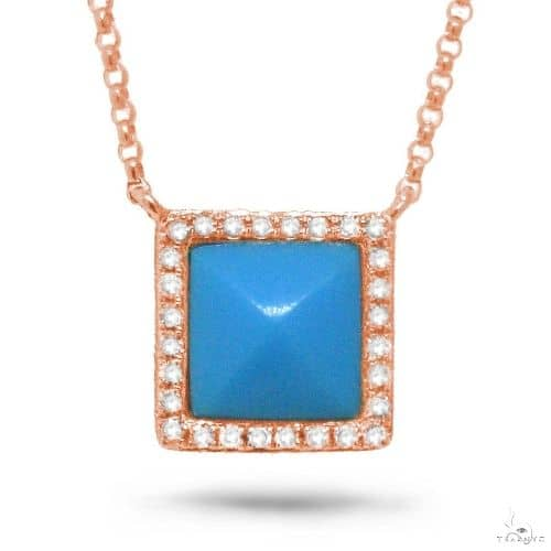 0.09ct Diamond and 0.73ct Composite Turquoise 14k Rose Gold Necklace Gemstone