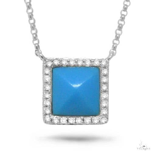 0.09ct Diamond and 0.73ct Composite Turquoise 14k White Gold Necklace Gemstone