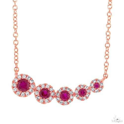 0.13ct Diamond and 0.22ct Ruby 14k Rose Gold Necklace Gemstone
