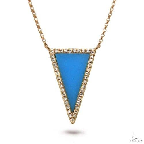 0.13ct Diamond and 0.70ct Composite Turquoise 14k Rose Gold Necklace Gemstone