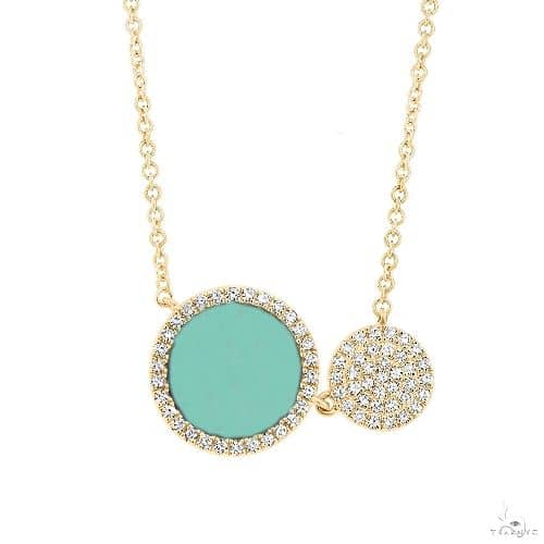 0.15ct Diamond and 0.84ct Composite Turquoise 14k Yellow Gold Circle Necklace Gemstone