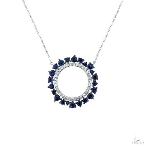 0.17ct Diamond and 0.79ct Blue Sapphire 14k White Gold Necklace Gemstone