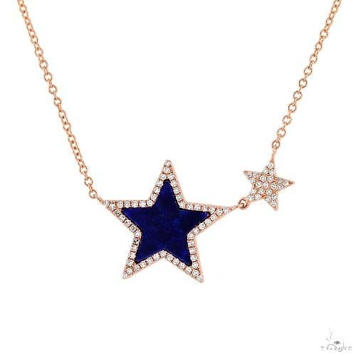 0.18ct Diamond and 0.70ct Lapis 14k Rose Gold Star Necklace Gemstone