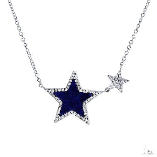 0.18ct Diamond and 0.70ct Lapis 14k White Gold Star Necklace Gemstone