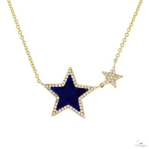 0.18ct Diamond and 0.70ct Lapis 14k Yellow Gold Star Necklace Gemstone