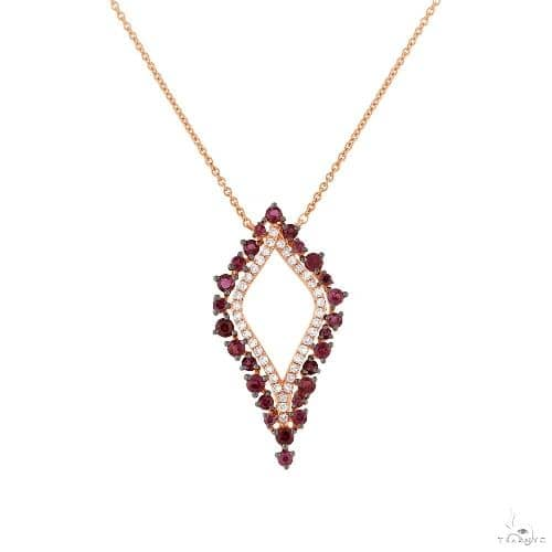 0.19ct Diamond and 0.81ct Ruby 14k Rose Gold Necklace Gemstone