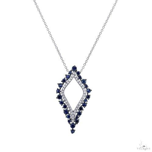 0.19ct Diamond and 0.86ct Blue Sapphire 14k White Gold Necklace Gemstone