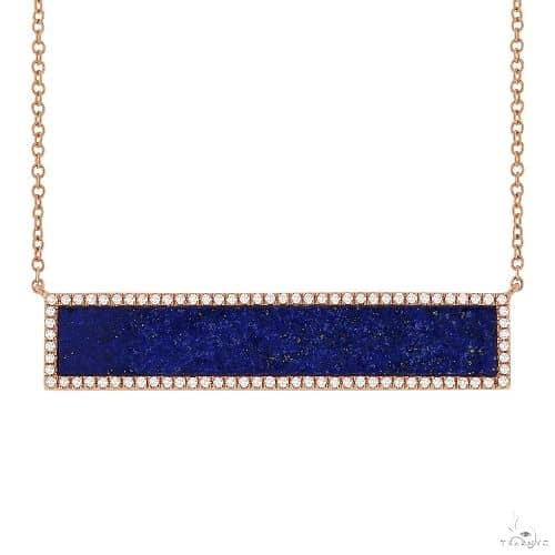 0.24ct Diamond and 2.98ct Lapis 14k Rose Gold Bar Necklace Gemstone