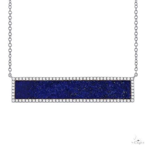 0.24ct Diamond and 2.98ct Lapis 14k White Gold Bar Necklace Gemstone