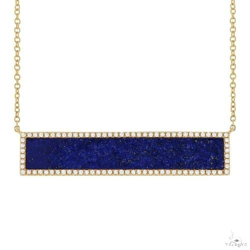 0.24ct Diamond and 2.98ct Lapis 14k Yellow Gold Bar Necklace Gemstone