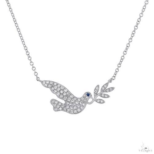 0.25ct Diamond and 0.01ct Blue Sapphire 14k White Gold Dove Necklace Gemstone