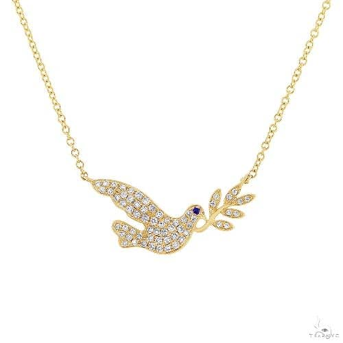 0.25ct Diamond and 0.01ct Blue Sapphire 14k Yellow Gold Dove Necklace Gemstone