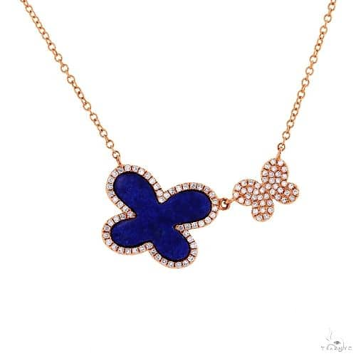 0.25ct Diamond and 1.27ct Lapis 14k Rose Gold Butterfly Necklace Gemstone