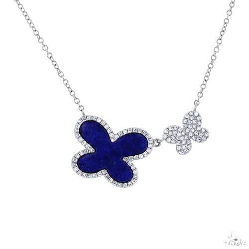 0.25ct Diamond and 1.27ct Lapis 14k White Gold Butterfly Necklace Gemstone