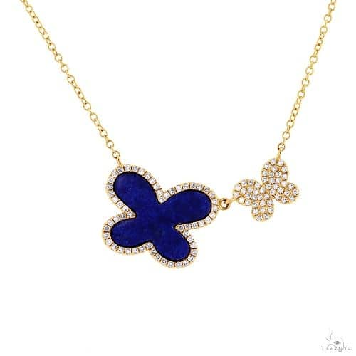 0.25ct Diamond and 1.27ct Lapis 14k Yellow Gold Butterfly Necklace Gemstone