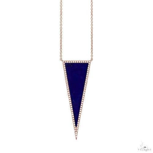 0.25ct Diamond and 2.77ct Lapis 14k Rose Gold Triangle Necklace Gemstone