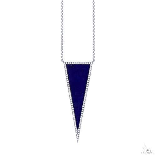 0.25ct Diamond and 2.77ct Lapis 14k White Gold Triangle Necklace Gemstone