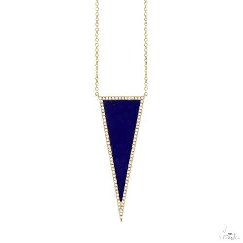 0.25ct Diamond and 2.77ct Lapis 14k Yellow Gold Triangle Necklace Gemstone