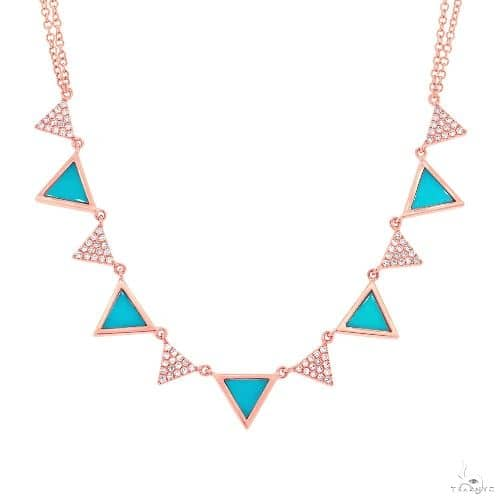 0.26ct Diamond and 0.88ct Composite Turquoise 14k Rose Gold Triangle Necklace Gemstone