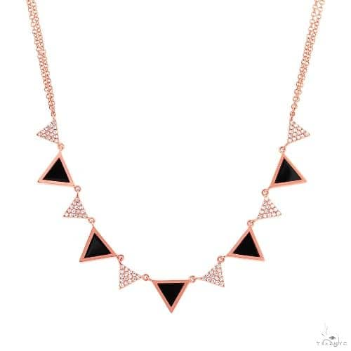 0.26ct Diamond and 1.00ct Onyx 14k Rose Gold Triangle Necklace Gemstone