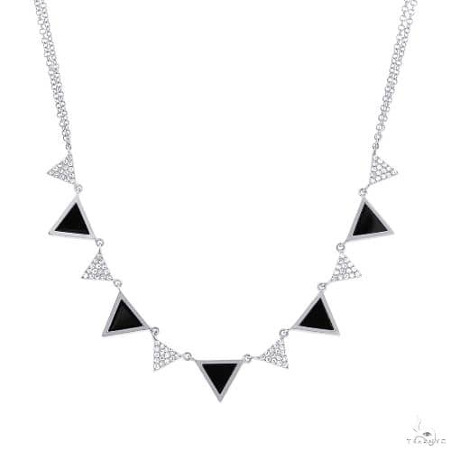 0.26ct Diamond and 1.00ct Onyx 14k White Gold Triangle Necklace Gemstone