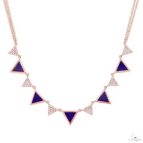 0.26ct Diamond and 1.21ct Lapis 14k Rose Gold Triangle Necklace Gemstone
