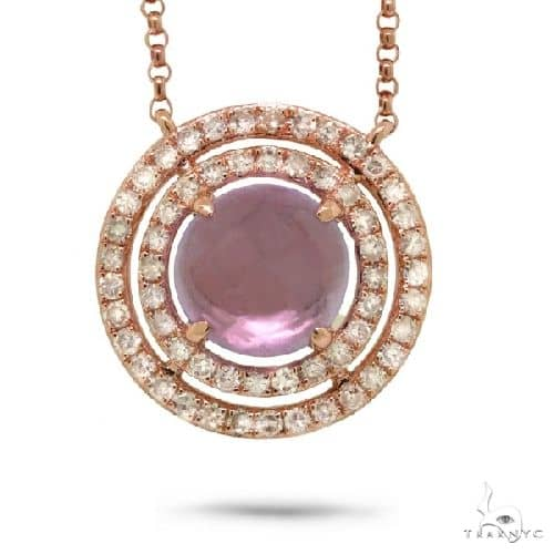 0.30ct Diamond and 1.32ct Amethyst 14k Rose Gold Necklace Gemstone