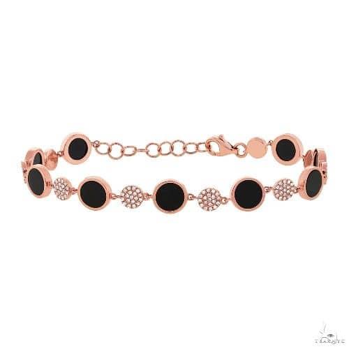 0.41ct Diamond and 3.61ct Onyx 14k Rose Gold Bracelet Gemstone & Pearl