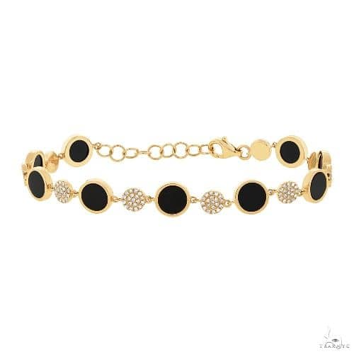 0.41ct Diamond and 3.61ct Onyx 14k Yellow Gold Bracelet Gemstone & Pearl