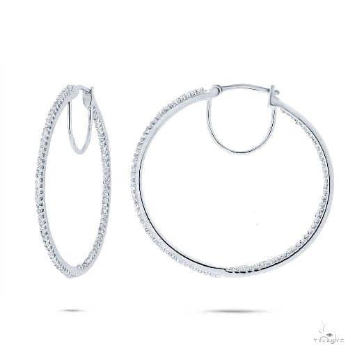 14k White Gold Diamond Hoop Earrings Stone