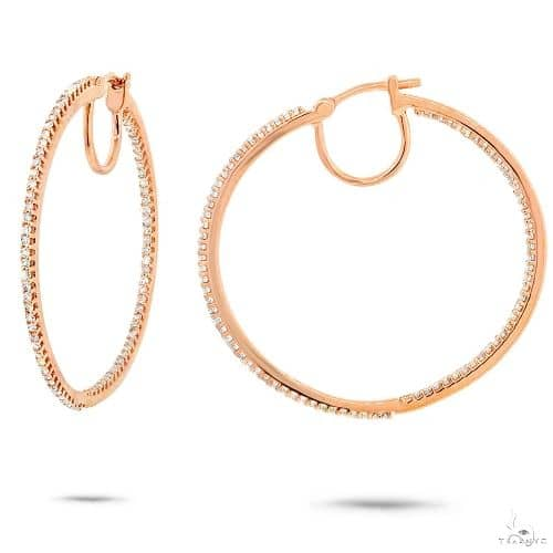 14k Yellow Gold Diamond Hoop Earrings Stone