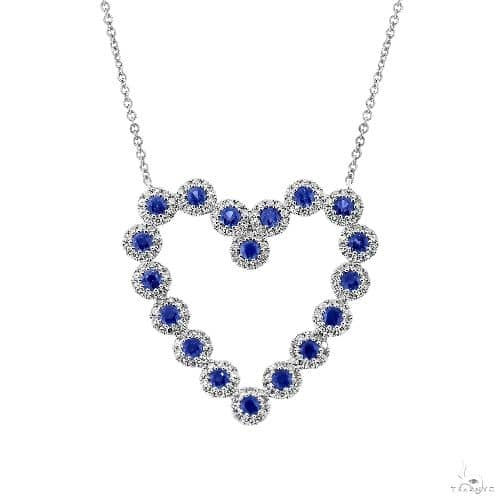0.55ct Diamond and 0.79ct Blue Sapphire 14k White Gold Heart Necklace Gemstone