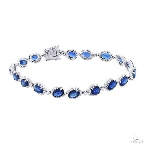 1.00ct Diamond and 11.17ct Blue Sapphire 14k White Gold Bracelet Gemstone & Pearl