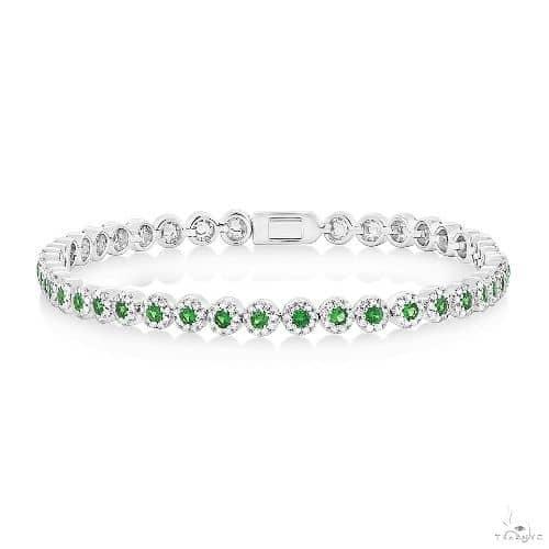 1.08ct Diamond and 1.48ct Green Garnet 14k White Gold Ladys Bracelet Gemstone & Pearl
