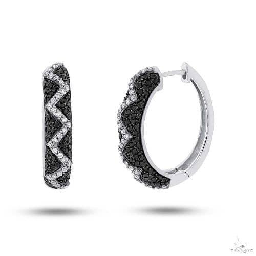 14k White Gold Black and White Diamond Hoop Earrings Stone